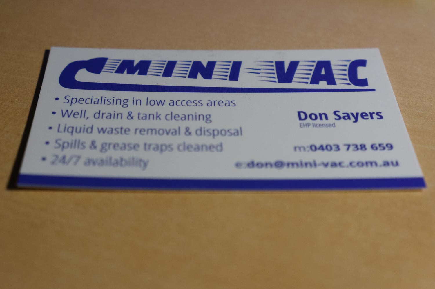 Mini-Vac Business Card