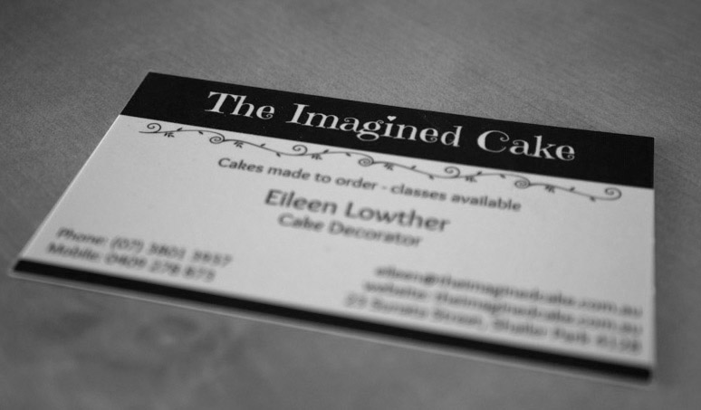 the imagined cake business card - monotone